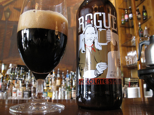 Product photo of Rogue's chocolate stout in a bar setting
