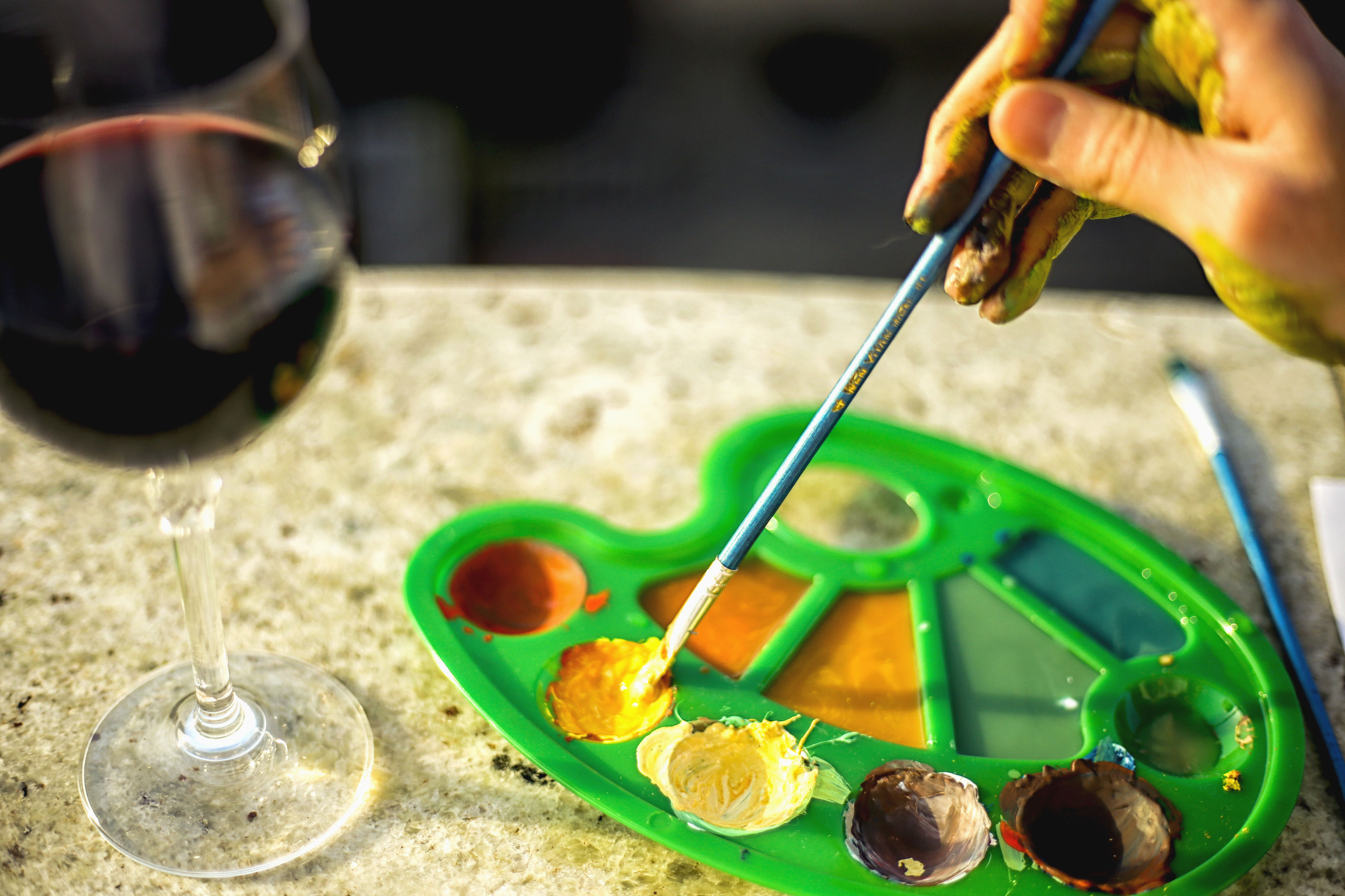 Paint Palette With Wine Glass
