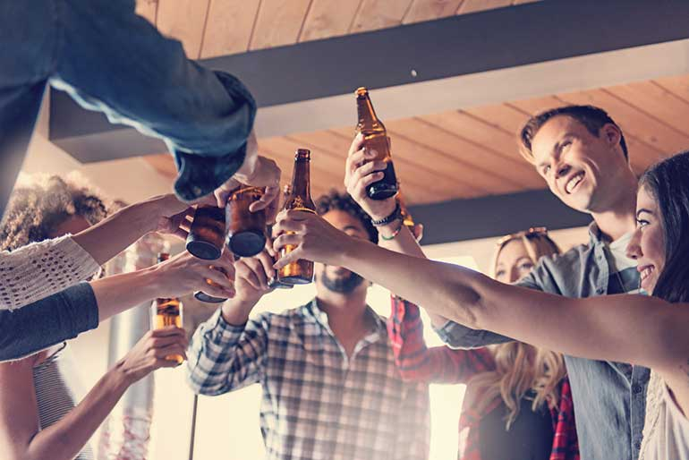 Group Toasting With Craft Beer
