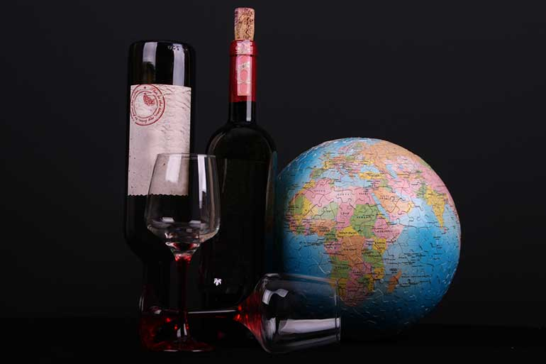 Red Wine And Globe