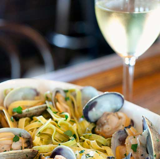 White Wine With Seafood Dish