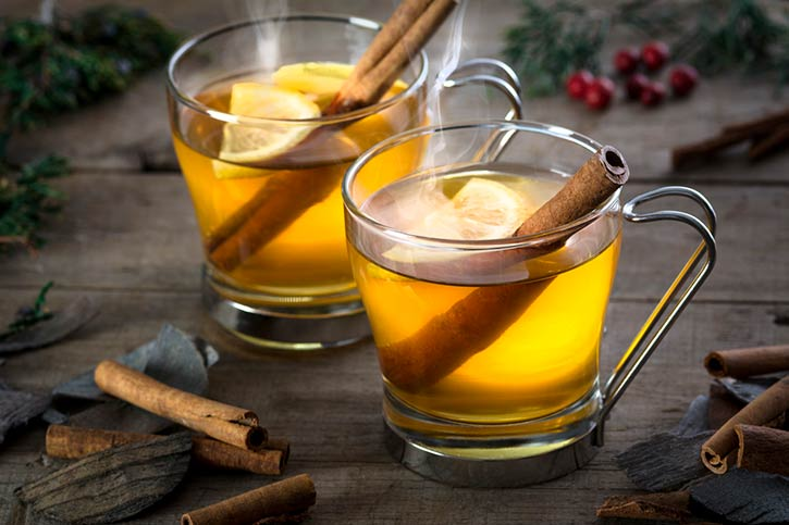 Two Steaming Hot Toddy Cocktails