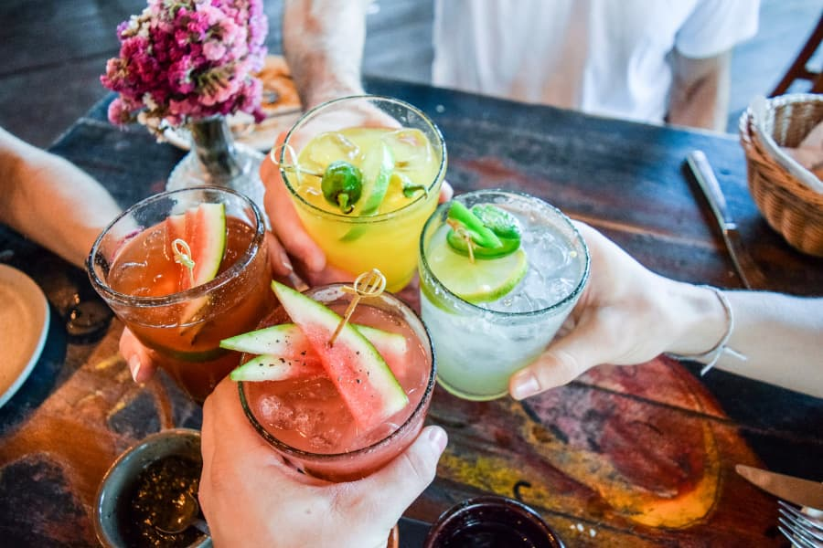 Assortment of drinks with fruit