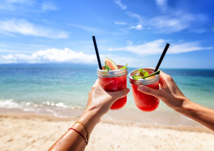 Tropical drinks enjoyed on the beach