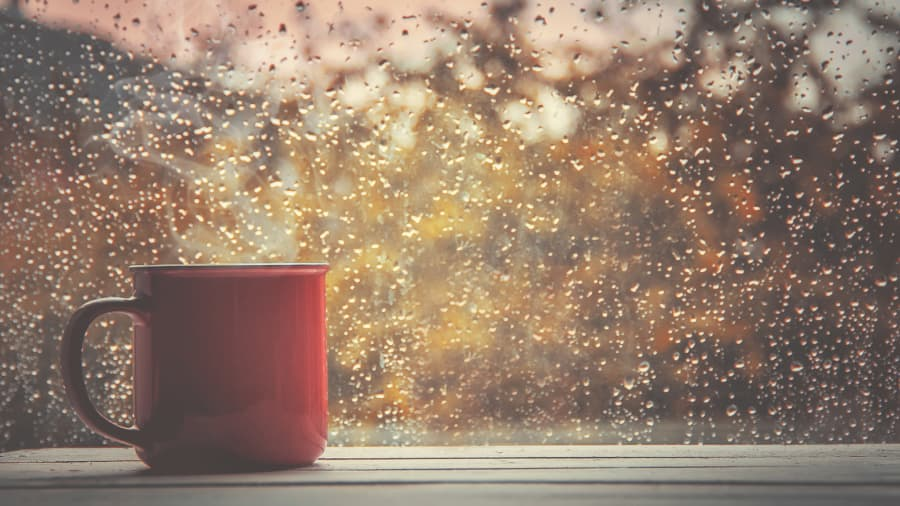 Red mug in front of rain covered window
