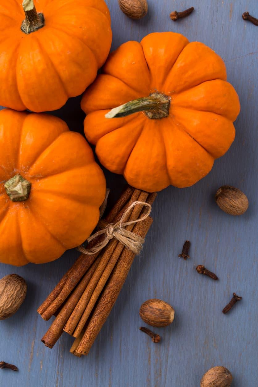 Pumpkins, cinnamon, nutmeg, and cloves