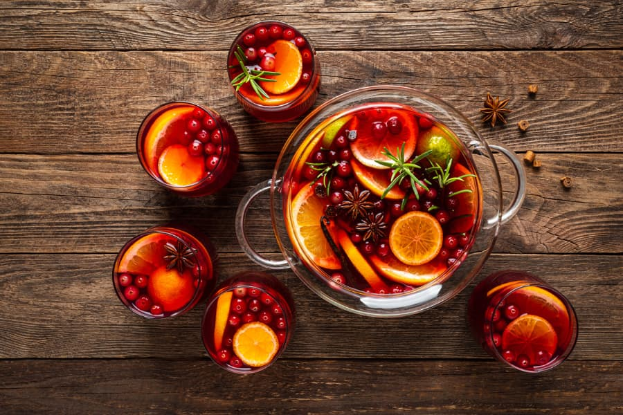 Holiday punch bowl with cranberries and citrus