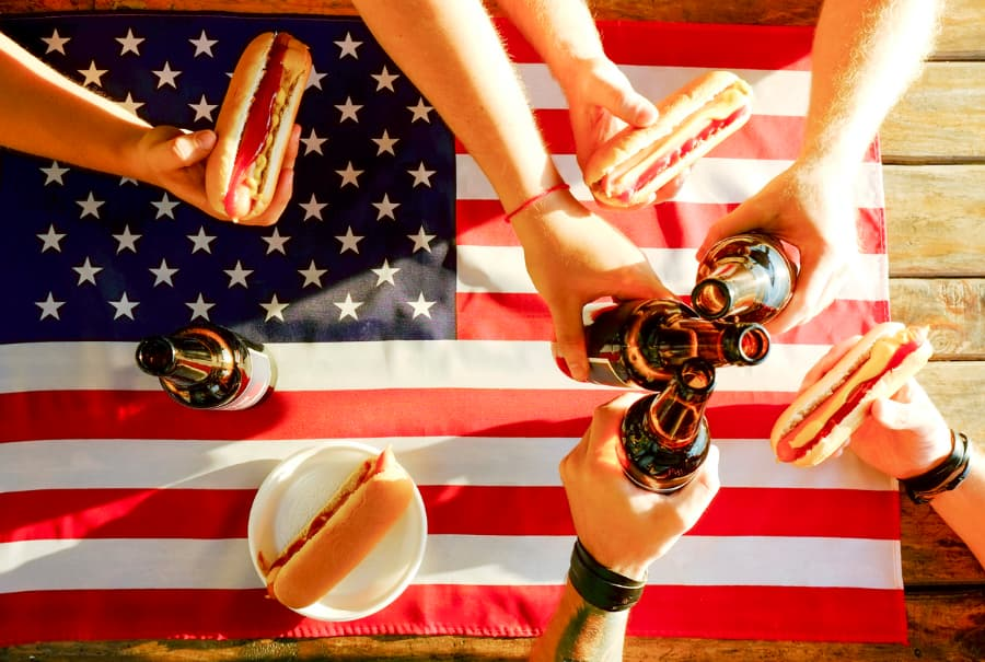 Beer And Hot Dogs With American Flag